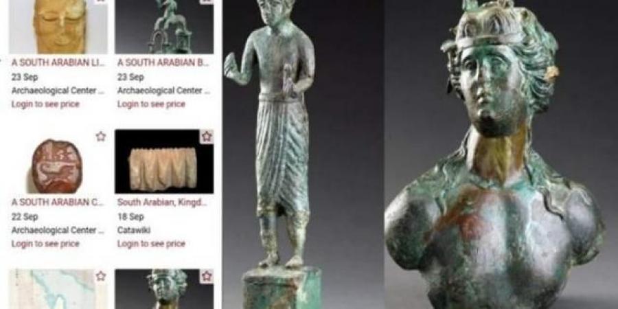 شاهد بالصور... موقع إسرائيلي يبيع مجموعة من الآثار اليمنية النادرة